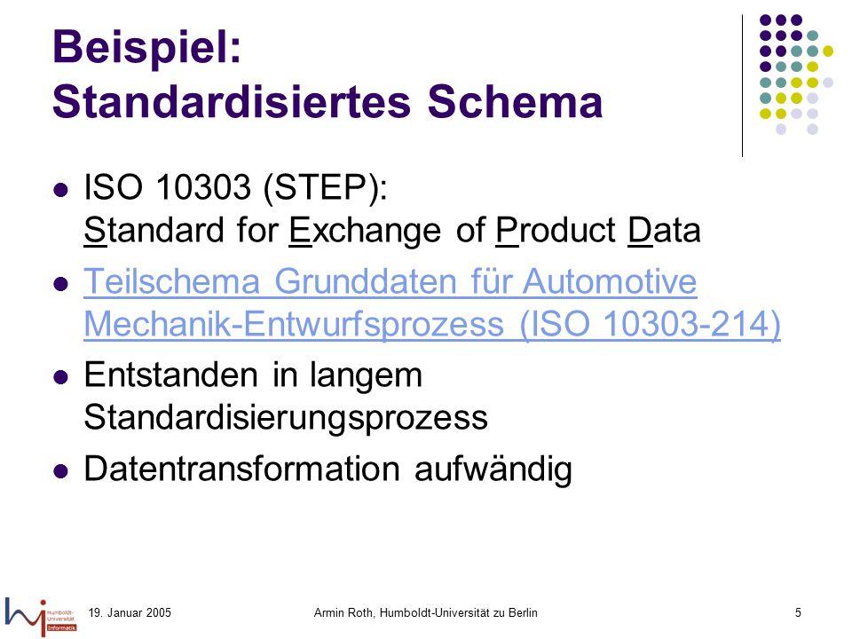 19. Januar 2005Armin Roth, Humboldt-Universität zu Berlin5 Beispiel: Standardisiertes Schema ISO 10303 (STEP): Standard for Exchange of Product Data T