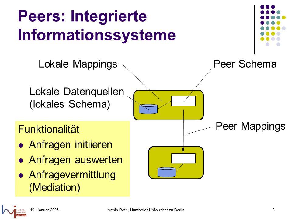 19. Januar 2005Armin Roth, Humboldt-Universität zu Berlin8 Peers: Integrierte Informationssysteme Peer Schema Lokale Datenquellen (lokales Schema) Fun