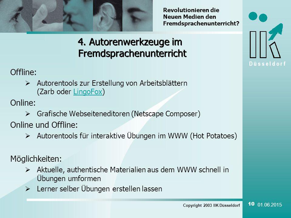 D ü s s e l d o r f Copyright 2003 IIK Düsseldorf 10 01.06.2015 4.