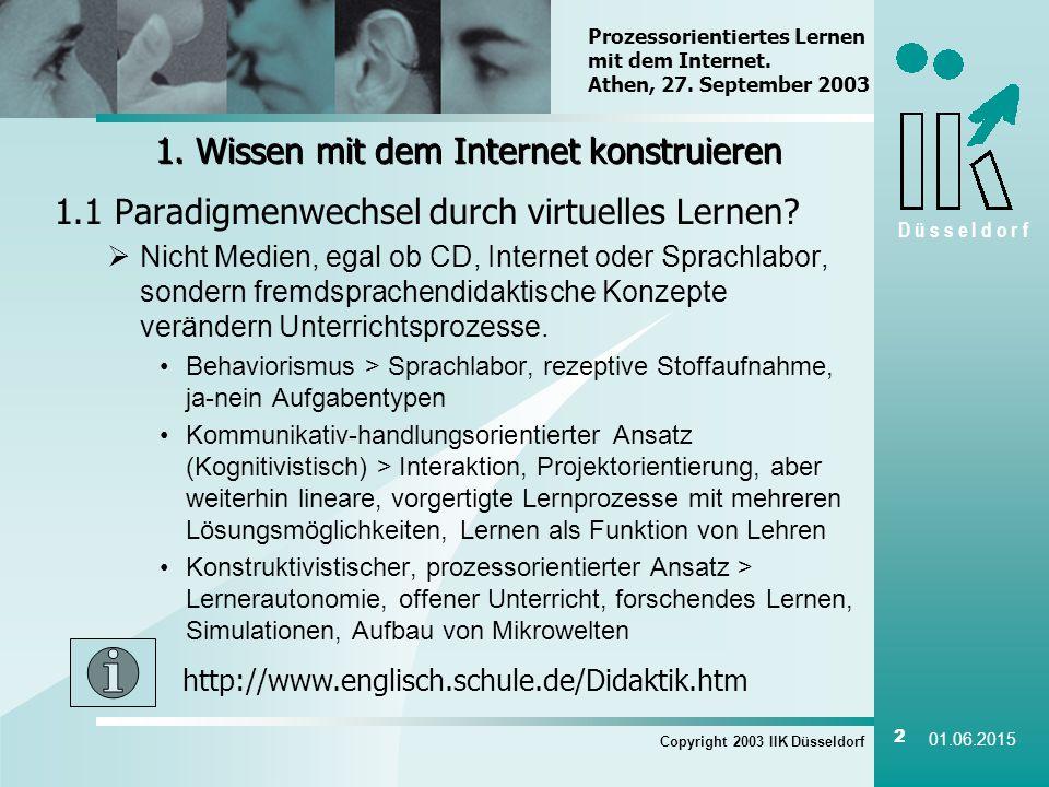 D ü s s e l d o r f Copyright 2003 IIK Düsseldorf 2 01.06.2015 1.