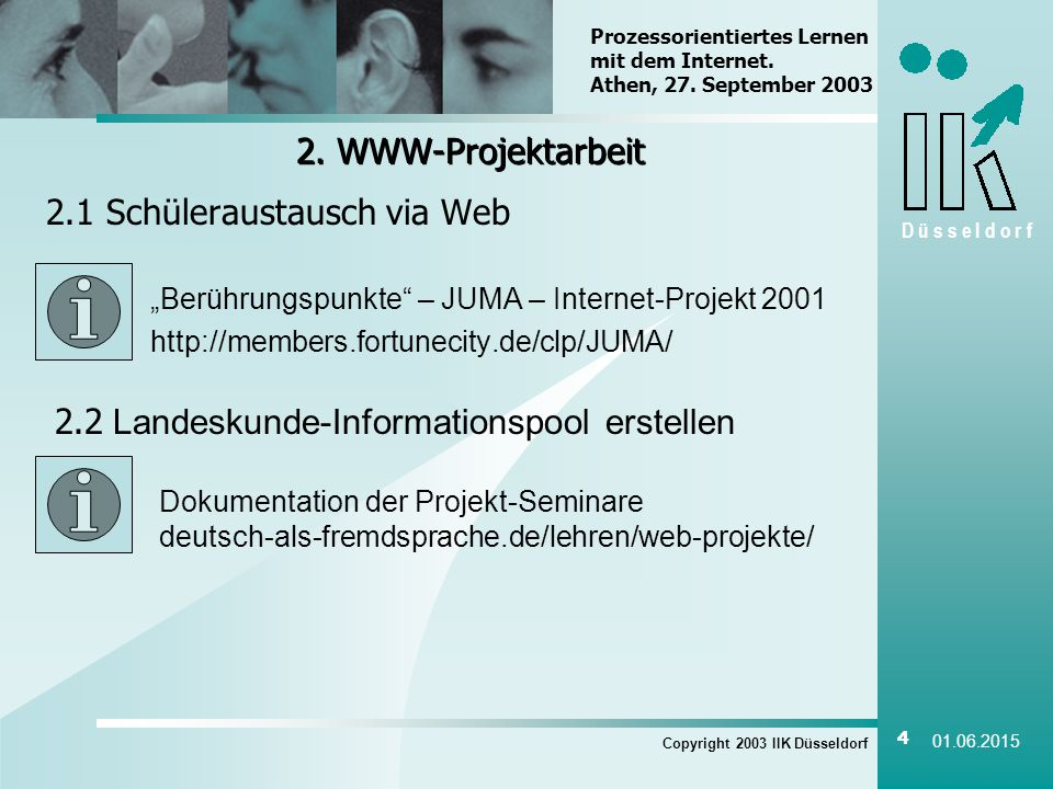 D ü s s e l d o r f Copyright 2003 IIK Düsseldorf 4 01.06.2015 2.