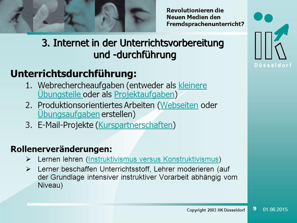 D ü s s e l d o r f Copyright 2003 IIK Düsseldorf 9 01.06.2015 3.
