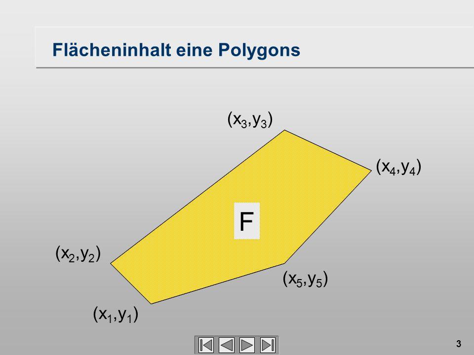 3 F (x 1,y 1 ) (x 4,y 4 ) (x 5,y 5 ) (x 2,y 2 ) (x 3,y 3 ) Flächeninhalt eine Polygons