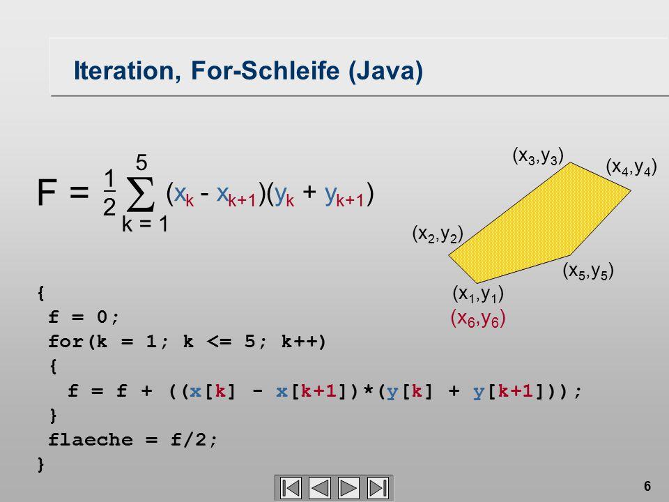 6 { f = 0; for(k = 1; k <= 5; k++) { } flaeche = f/2; } Iteration, For-Schleife (Java) (x 4,y 4 ) (x 1,y 1 ) (x 5,y 5 ) (x 2,y 2 ) (x 3,y 3 ) f = f +