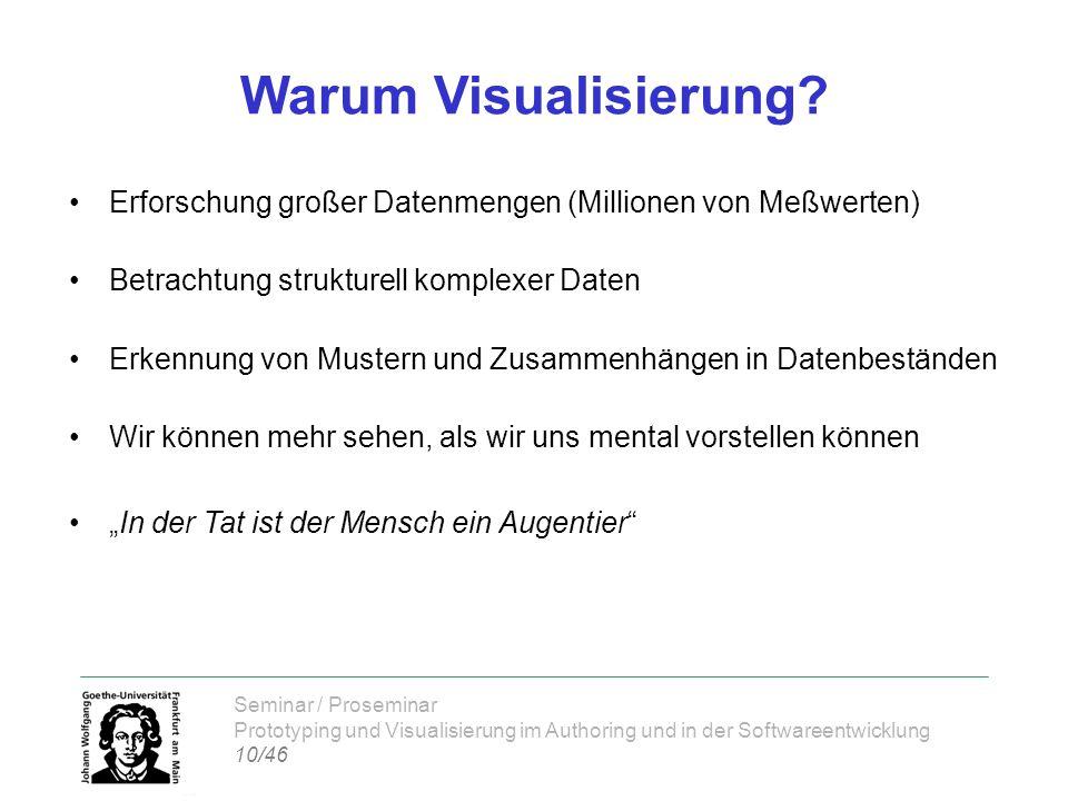 Seminar / Proseminar Prototyping und Visualisierung im Authoring und in der Softwareentwicklung 10/46 Warum Visualisierung? Erforschung großer Datenme