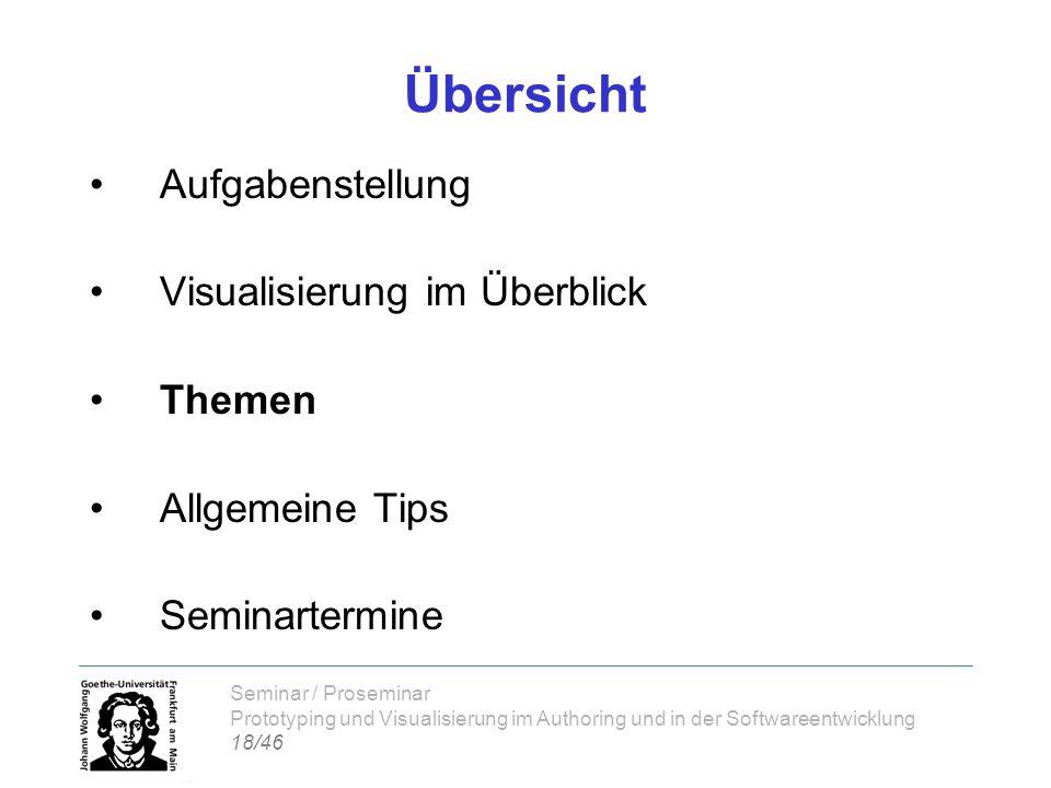 Seminar / Proseminar Prototyping und Visualisierung im Authoring und in der Softwareentwicklung 18/46 Übersicht Aufgabenstellung Visualisierung im Übe