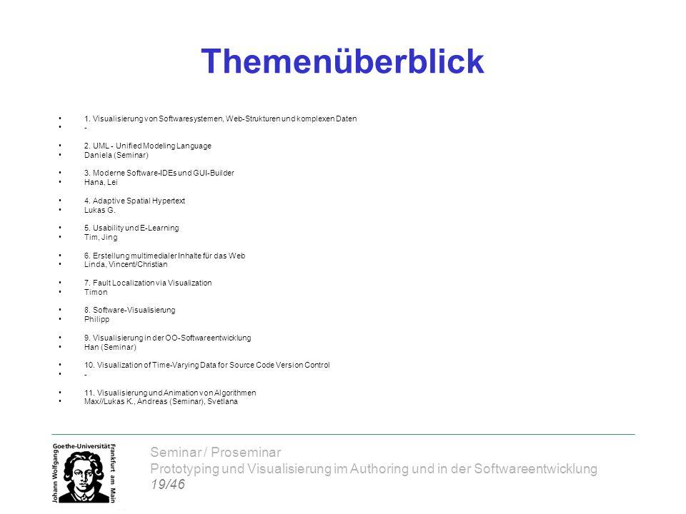 Seminar / Proseminar Prototyping und Visualisierung im Authoring und in der Softwareentwicklung 19/46 Themenüberblick 1.