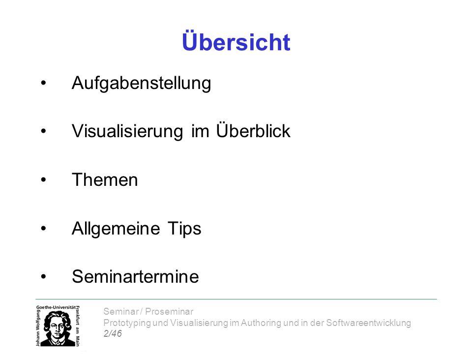 Seminar / Proseminar Prototyping und Visualisierung im Authoring und in der Softwareentwicklung 2/46 Übersicht Aufgabenstellung Visualisierung im Über