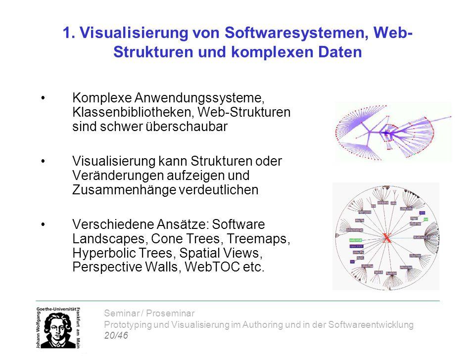 Seminar / Proseminar Prototyping und Visualisierung im Authoring und in der Softwareentwicklung 20/46 1. Visualisierung von Softwaresystemen, Web- Str