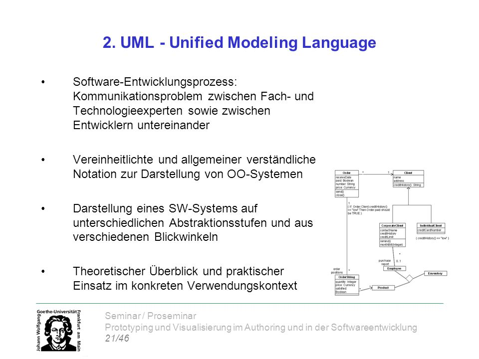 Seminar / Proseminar Prototyping und Visualisierung im Authoring und in der Softwareentwicklung 21/46 2. UML - Unified Modeling Language Software-Entw
