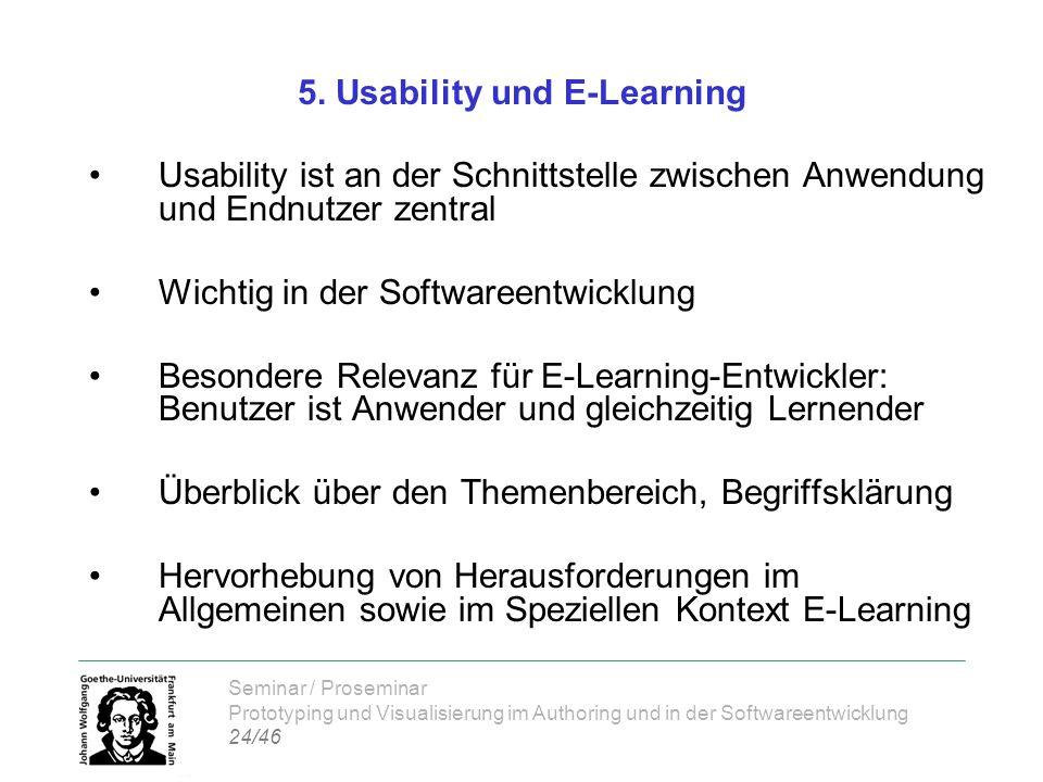 Seminar / Proseminar Prototyping und Visualisierung im Authoring und in der Softwareentwicklung 24/46 5. Usability und E-Learning Usability ist an der