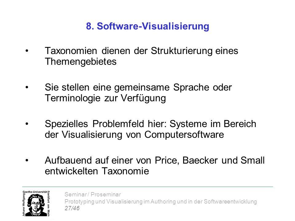 Seminar / Proseminar Prototyping und Visualisierung im Authoring und in der Softwareentwicklung 27/46 8. Software-Visualisierung Taxonomien dienen der