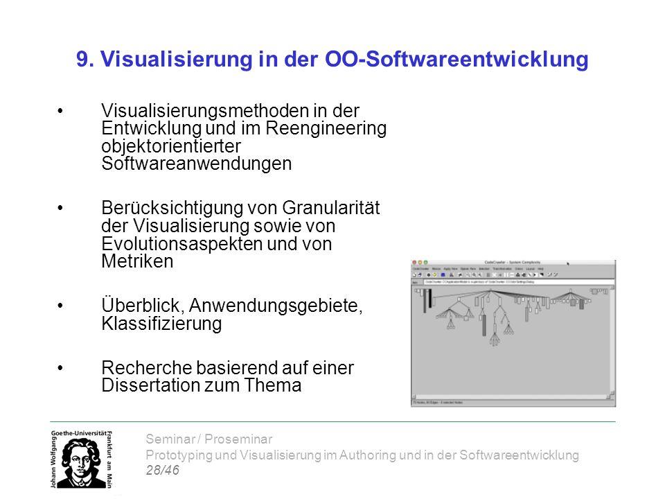 Seminar / Proseminar Prototyping und Visualisierung im Authoring und in der Softwareentwicklung 28/46 9. Visualisierung in der OO-Softwareentwicklung