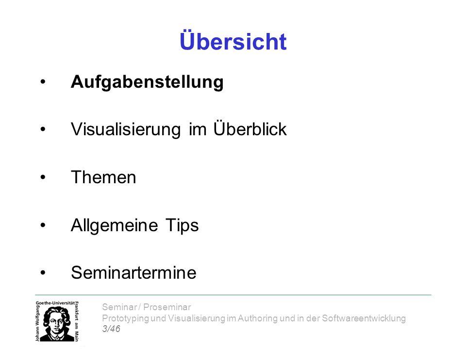 Seminar / Proseminar Prototyping und Visualisierung im Authoring und in der Softwareentwicklung 3/46 Übersicht Aufgabenstellung Visualisierung im Über