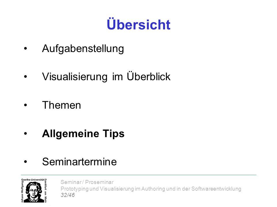 Seminar / Proseminar Prototyping und Visualisierung im Authoring und in der Softwareentwicklung 32/46 Übersicht Aufgabenstellung Visualisierung im Übe