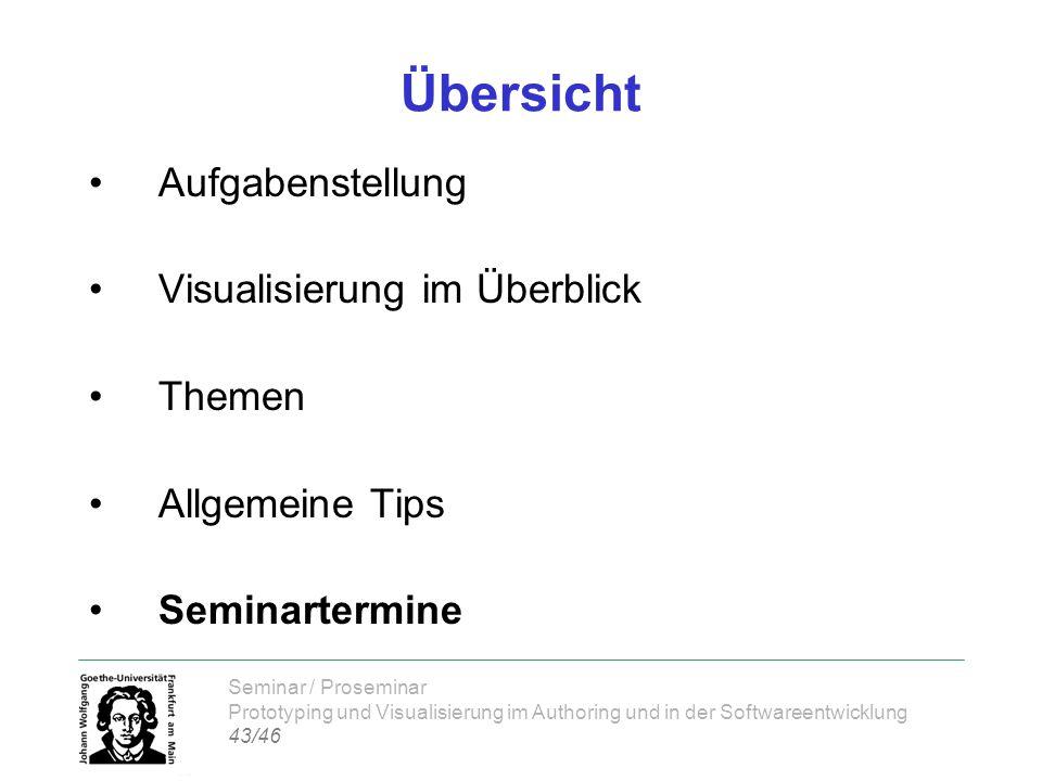 Seminar / Proseminar Prototyping und Visualisierung im Authoring und in der Softwareentwicklung 43/46 Übersicht Aufgabenstellung Visualisierung im Übe