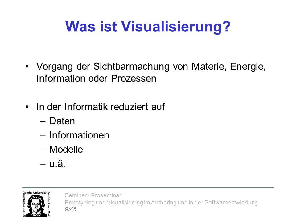 Seminar / Proseminar Prototyping und Visualisierung im Authoring und in der Softwareentwicklung 9/46 Was ist Visualisierung? Vorgang der Sichtbarmachu