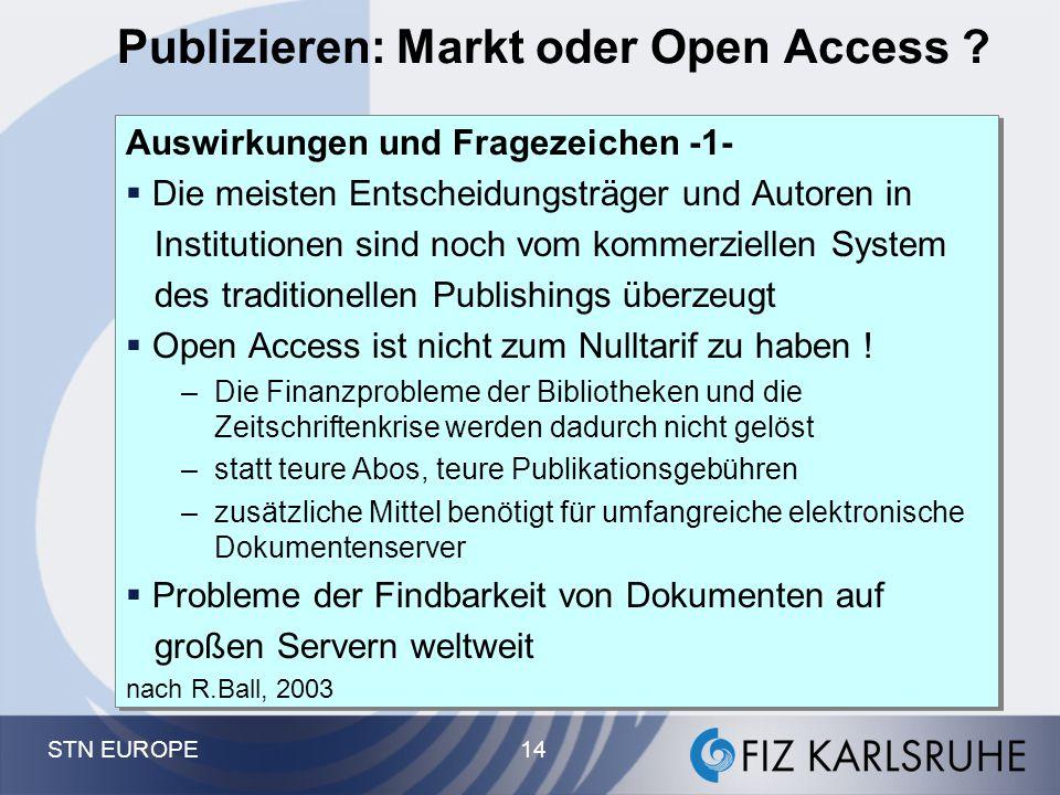 STN EUROPE 14 Publizieren: Markt oder Open Access ? Auswirkungen und Fragezeichen -1-  Die meisten Entscheidungsträger und Autoren in Institutionen s