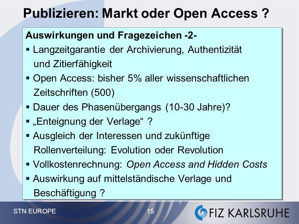 STN EUROPE 15 Publizieren: Markt oder Open Access ? Auswirkungen und Fragezeichen -2-  Langzeitgarantie der Archivierung, Authentizität und Zitierfäh