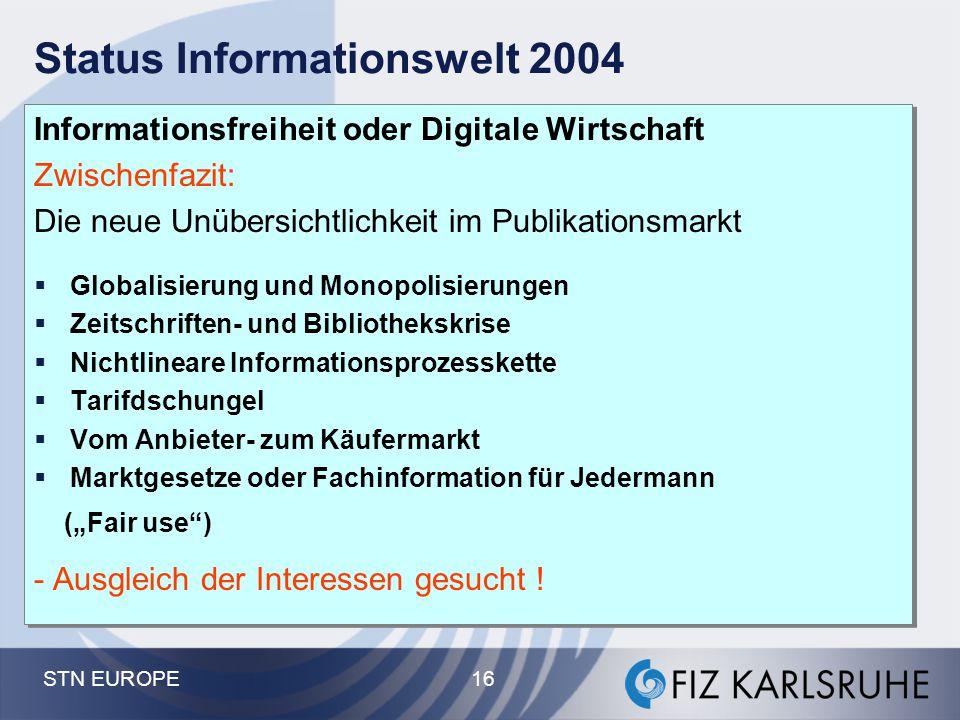 STN EUROPE 16 Status Informationswelt 2004 Informationsfreiheit oder Digitale Wirtschaft Zwischenfazit: Die neue Unübersichtlichkeit im Publikationsma