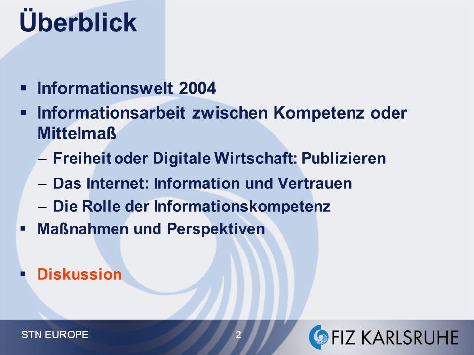 STN EUROPE 73 Chancen für die Informations-Spezialisten  Herausforderung: Integration von Fachinformation, Bildung und Neuen Medien –Vernetztes Studium, FIZ Chemie –Art&Data E-Learning-CD –Patente, ILIAS, Frau Prof.