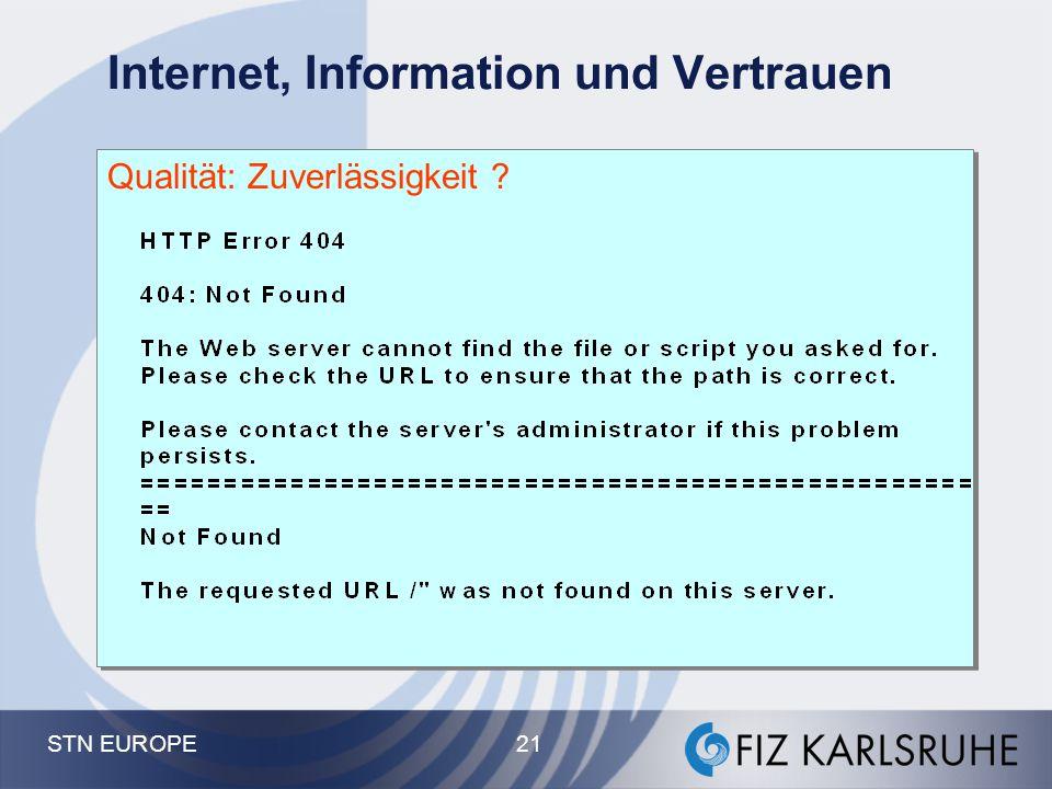 STN EUROPE 21 Internet, Information und Vertrauen Qualität: Zuverlässigkeit ?
