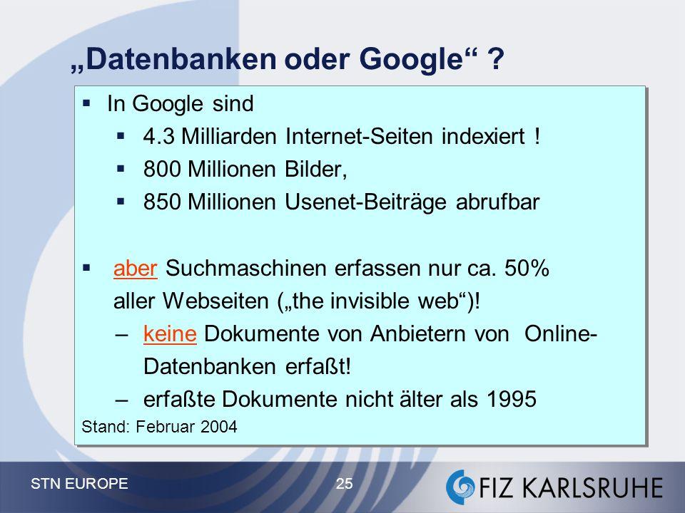 """STN EUROPE 25 """"Datenbanken oder Google"""" ?  In Google sind  4.3 Milliarden Internet-Seiten indexiert !  800 Millionen Bilder,  850 Millionen Usenet"""