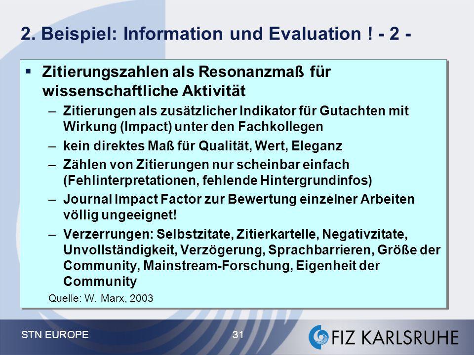 STN EUROPE 31 2. Beispiel: Information und Evaluation ! - 2 -  Zitierungszahlen als Resonanzmaß für wissenschaftliche Aktivität –Zitierungen als zusä