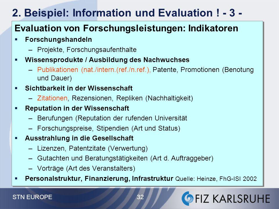 STN EUROPE 32 2. Beispiel: Information und Evaluation ! - 3 - Evaluation von Forschungsleistungen: Indikatoren  Forschungshandeln –Projekte, Forschun