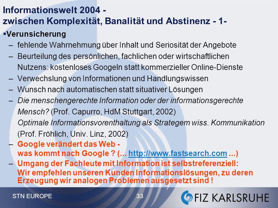 STN EUROPE 33 Informationswelt 2004 - zwischen Komplexität, Banalität und Abstinenz - 1-  Verunsicherung –fehlende Wahrnehmung über Inhalt und Serios