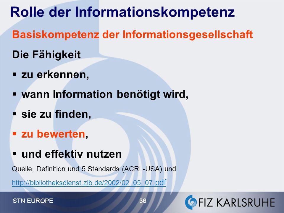 STN EUROPE 36 Rolle der Informationskompetenz Basiskompetenz der Informationsgesellschaft Die Fähigkeit  zu erkennen,  wann Information benötigt wir