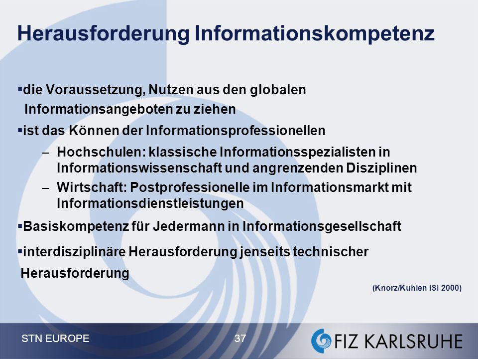STN EUROPE 37 Herausforderung Informationskompetenz  die Voraussetzung, Nutzen aus den globalen Informationsangeboten zu ziehen  ist das Können der
