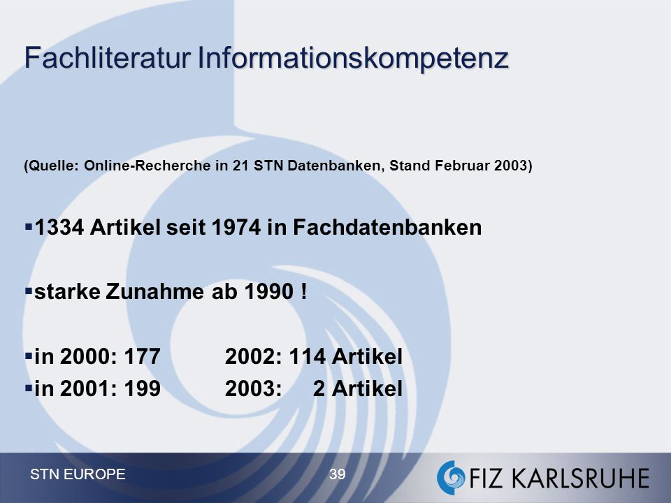 STN EUROPE 39 Fachliteratur Informationskompetenz (Quelle: Online-Recherche in 21 STN Datenbanken, Stand Februar 2003)  1334 Artikel seit 1974 in Fac
