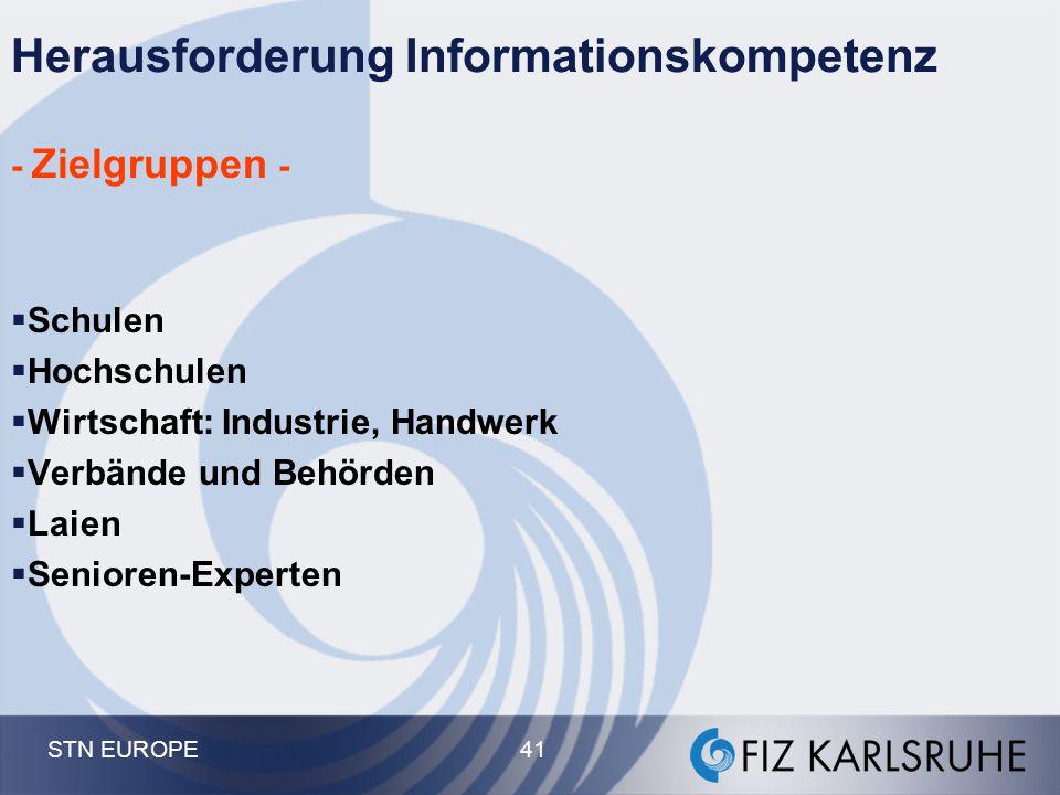 STN EUROPE 41 Herausforderung Informationskompetenz - Zielgruppen -  Schulen  Hochschulen  Wirtschaft: Industrie, Handwerk  Verbände und Behörden