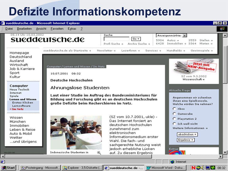 STN EUROPE 43 Defizite Informationskompetenz