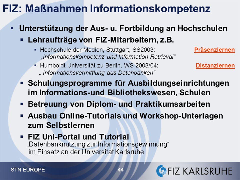 STN EUROPE 44  Unterstützung der Aus- u. Fortbildung an Hochschulen  Lehraufträge von FIZ-Mitarbeitern, z.B.  Hochschule der Medien, Stuttgart, SS2