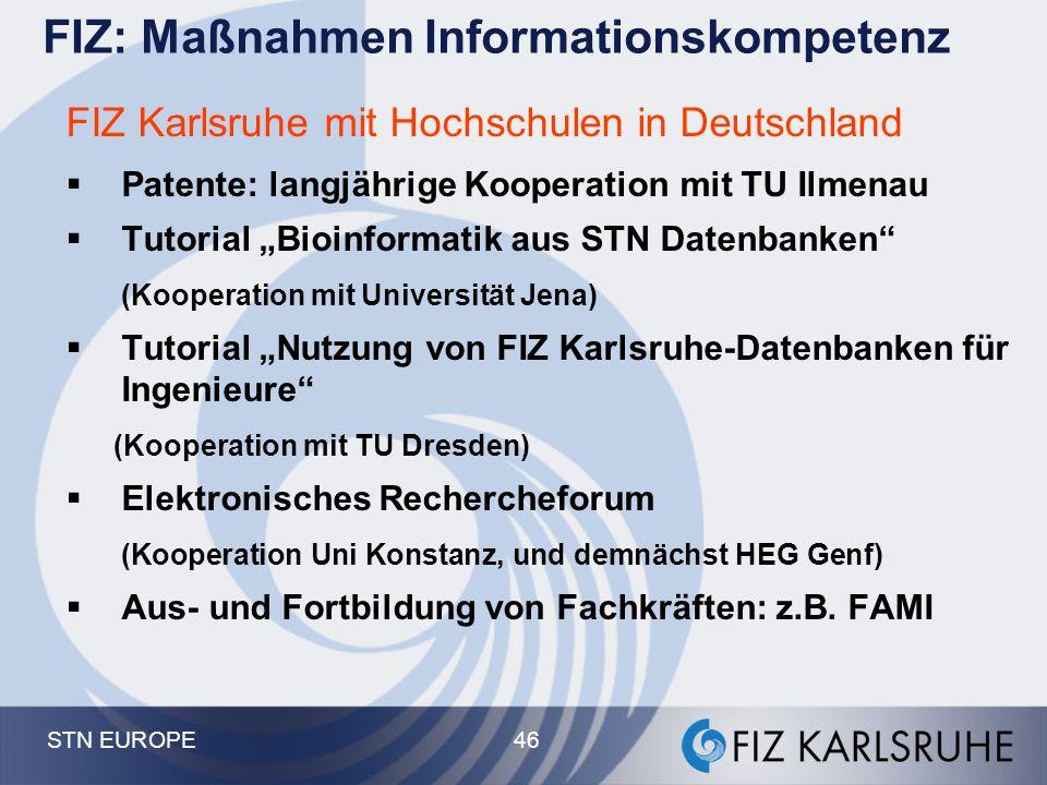 """STN EUROPE 46 FIZ Karlsruhe mit Hochschulen in Deutschland  Patente: langjährige Kooperation mit TU Ilmenau  Tutorial """"Bioinformatik aus STN Datenba"""