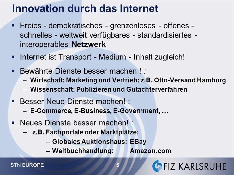 STN EUROPE 5 Innovation durch das Internet  Freies - demokratisches - grenzenloses - offenes - schnelles - weltweit verfügbares - standardisiertes -