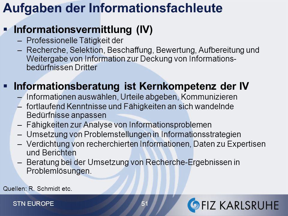 STN EUROPE 51 Aufgaben der Informationsfachleute  Informationsvermittlung (IV) –Professionelle Tätigkeit der –Recherche, Selektion, Beschaffung, Bewe