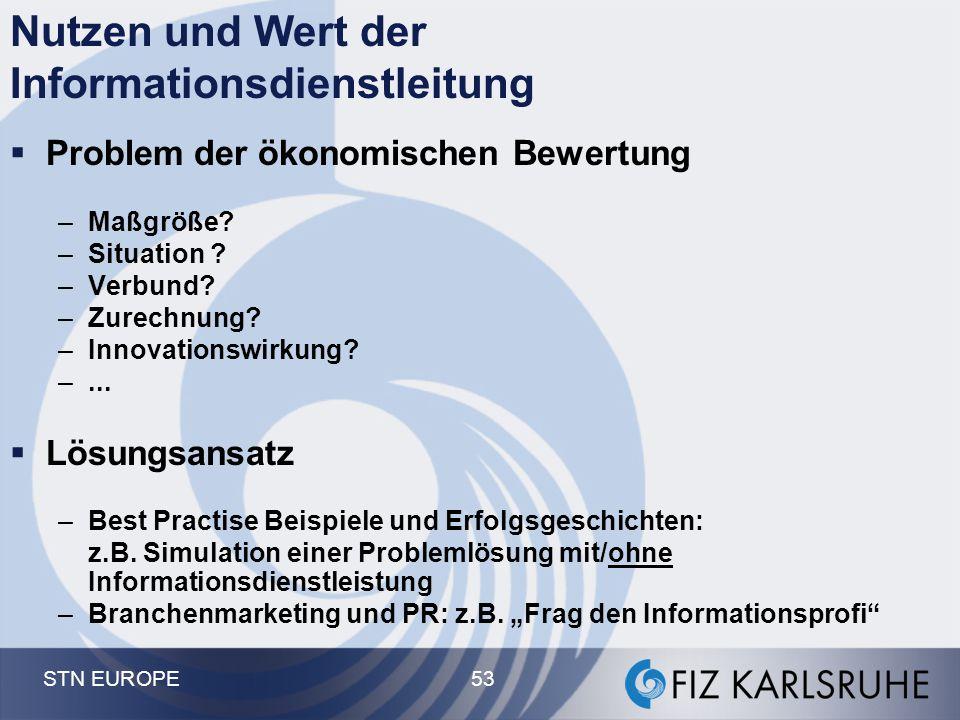 STN EUROPE 53 Nutzen und Wert der Informationsdienstleitung  Problem der ökonomischen Bewertung –Maßgröße? –Situation ? –Verbund? –Zurechnung? –Innov