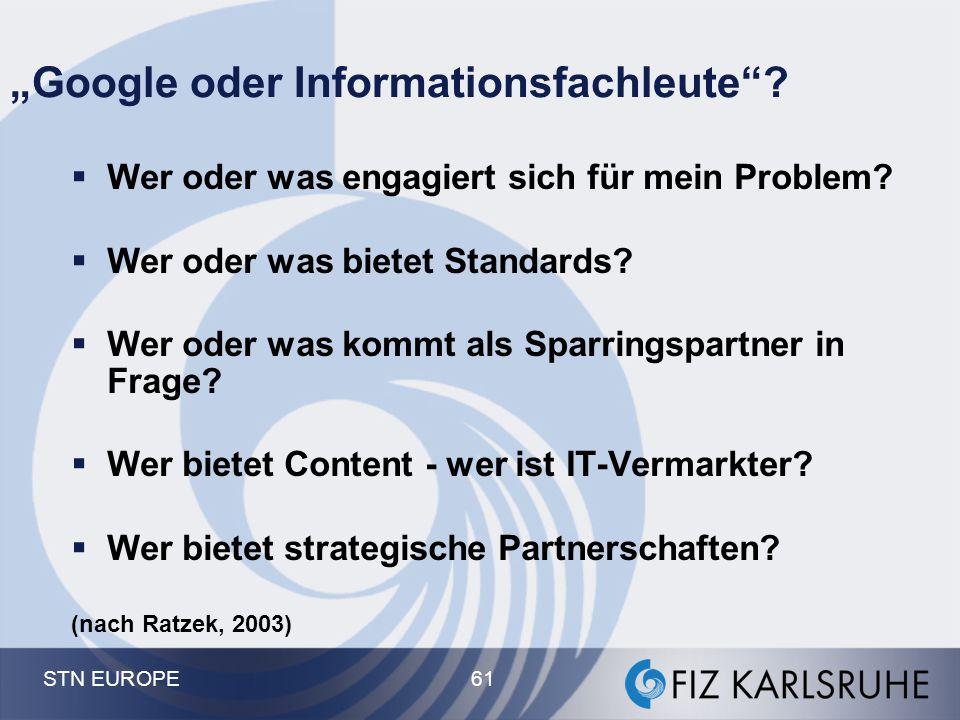 """STN EUROPE 61 """"Google oder Informationsfachleute""""?  Wer oder was engagiert sich für mein Problem?  Wer oder was bietet Standards?  Wer oder was kom"""