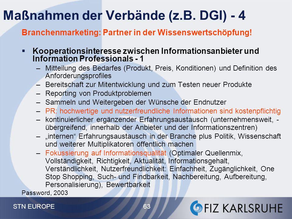 STN EUROPE 63 Maßnahmen der Verbände (z.B. DGI) - 4 Branchenmarketing: Partner in der Wissenswertschöpfung!  Kooperationsinteresse zwischen Informati