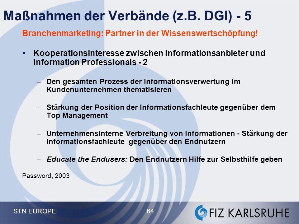 STN EUROPE 64 Maßnahmen der Verbände (z.B. DGI) - 5 Branchenmarketing: Partner in der Wissenswertschöpfung!  Kooperationsinteresse zwischen Informati