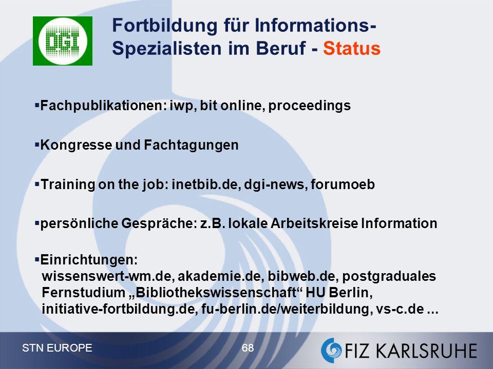 STN EUROPE 68 Fortbildung für Informations- Spezialisten im Beruf - Status  Fachpublikationen: iwp, bit online, proceedings  Kongresse und Fachtagun
