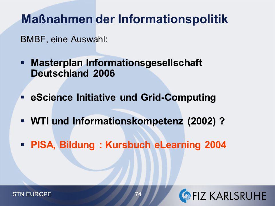 STN EUROPE 74 Maßnahmen der Informationspolitik BMBF, eine Auswahl:  Masterplan Informationsgesellschaft Deutschland 2006  eScience Initiative und G