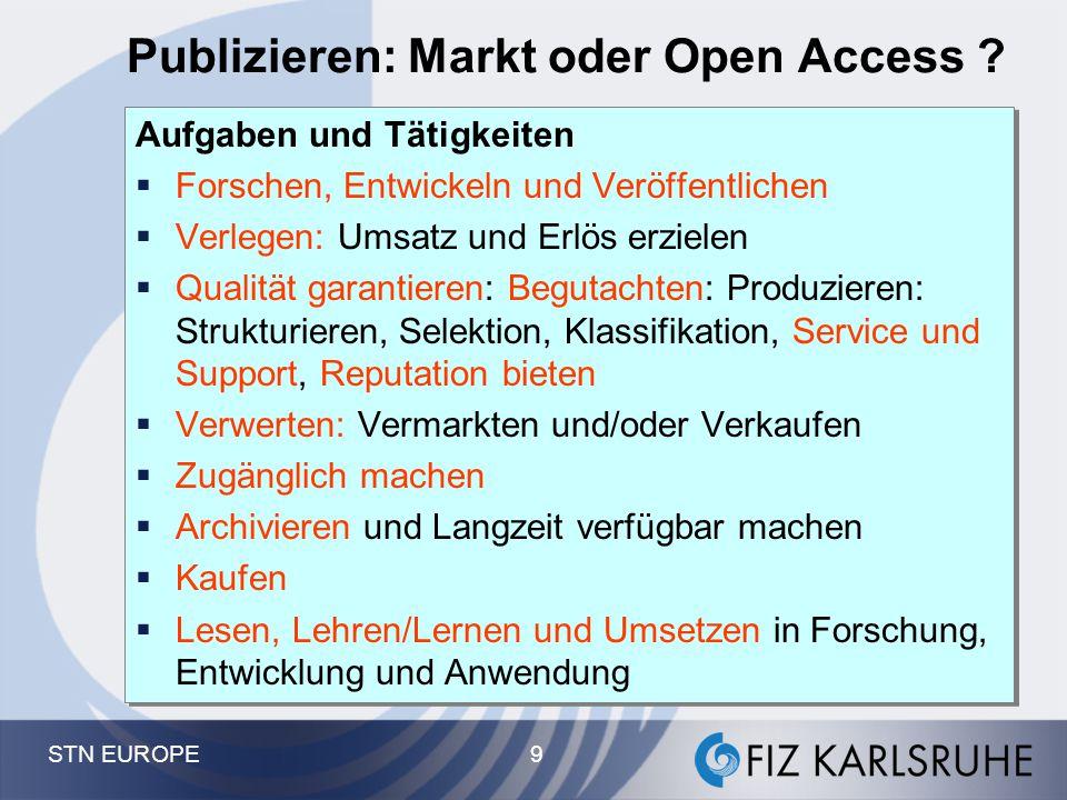STN EUROPE 9 Publizieren: Markt oder Open Access ? Aufgaben und Tätigkeiten  Forschen, Entwickeln und Veröffentlichen  Verlegen: Umsatz und Erlös er