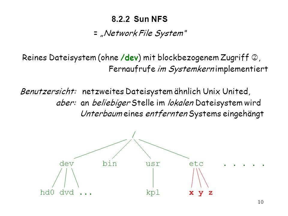 """10 8.2.2 Sun NFS = """"Network File System Reines Dateisystem (ohne /dev) mit blockbezogenem Zugriff , Fernaufrufe im Systemkern implementiert Benutzersicht: netzweites Dateisystem ähnlich Unix United, aber: an beliebiger Stelle im lokalen Dateisystem wird Unterbaum eines entfernten Systems eingehängt / dev bin usr etc....."""