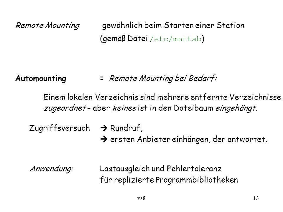 vs813 Remote Mounting gewöhnlich beim Starten einer Station (gemäß Datei /etc/mnttab ) Automounting= Remote Mounting bei Bedarf: Einem lokalen Verzeichnis sind mehrere entfernte Verzeichnisse zugeordnet – aber keines ist in den Dateibaum eingehängt.