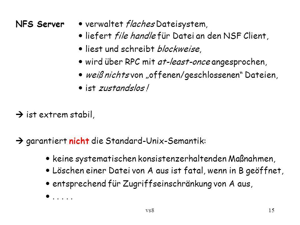 """vs815 NFS Server verwaltet flaches Dateisystem, liefert file handle für Datei an den NSF Client, liest und schreibt blockweise, wird über RPC mit at-least-once angesprochen, weiß nichts von """"offenen/geschlossenen Dateien, ist zustandslos ."""