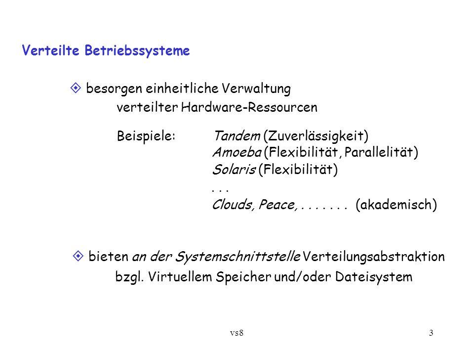 vs83 Verteilte Betriebssysteme  besorgen einheitliche Verwaltung verteilter Hardware-Ressourcen Beispiele: Tandem (Zuverlässigkeit) Amoeba (Flexibilität, Parallelität) Solaris (Flexibilität)...
